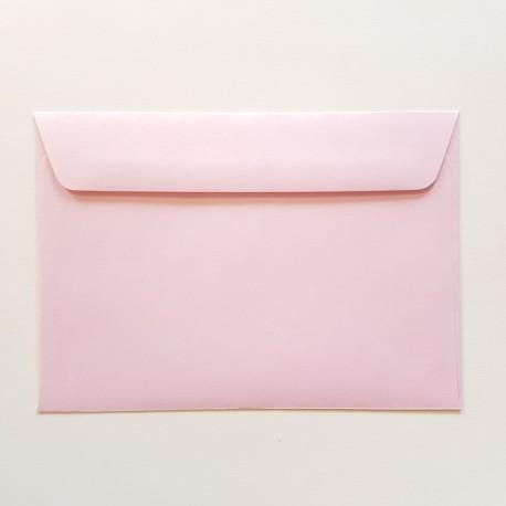 Koperta ozdobna C6 różowa perłowa