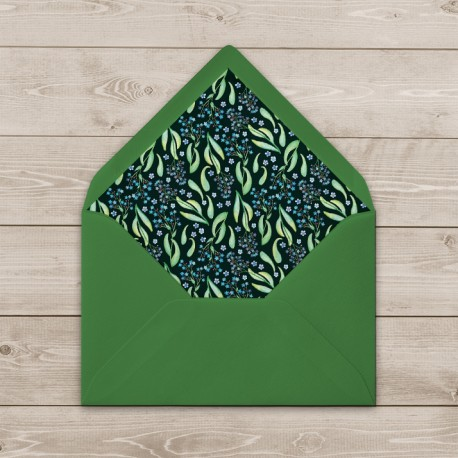Ozdobna koperta zielona z wkładką