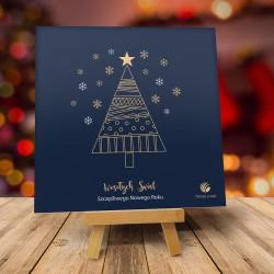 Firmowa kartka świąteczna ZŁOTA JODEŁKA z logiem