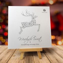Firmowa kartka świąteczna ŚNIEŻNY RENIFER z logiem