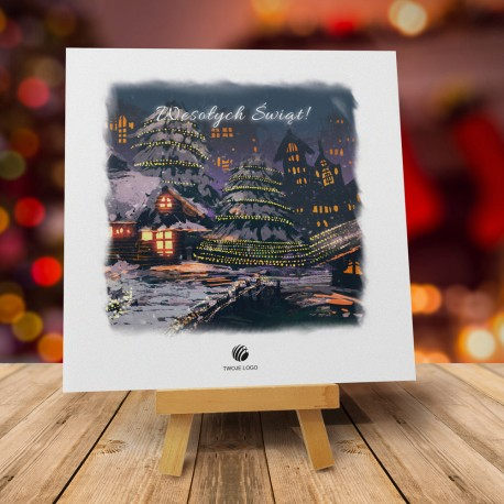 Firmowa kartka świąteczna Bajkowe święta z logiem
