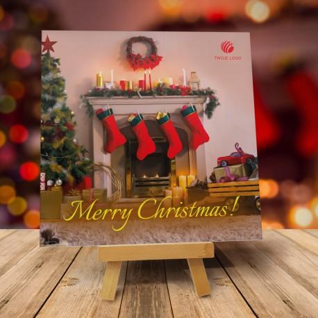Firmowa kartka świąteczna Przy kominku z logiem