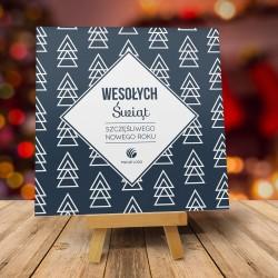 Firmowa kartka świąteczna GEOMETRYCZNE ŚWIĘTA - ciemna z logiem