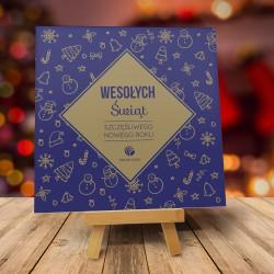 Firmowa kartka świąteczna ŚWIĄTECZNY KLIMAT - Niebieska z logiem