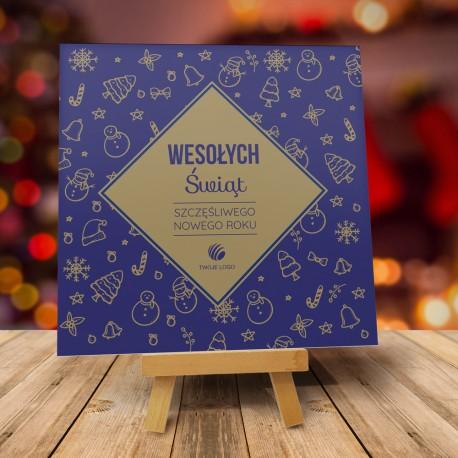 Firmowa kartka świąteczna Świąteczny klimat - granatowa z logiem