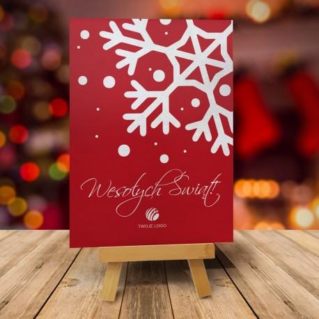 firmowa kartka świąteczna Płatek z logiem / min. 10 szt