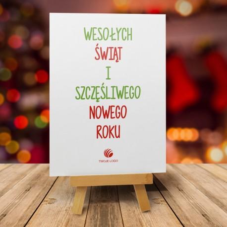 firmowa kartka świąteczna Wesołych Świąt - zielona z logiem / min. 10 szt
