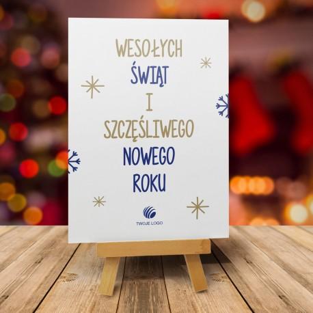 firmowa kartka świąteczna Wesołych Świąt - złota z logiem