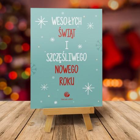 firmowa kartka świąteczna Wesołych Świąt - turkusowa z logiem