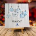 Firmowa kartka świąteczna BŁĘKITNE BOMBECZKI z logiem