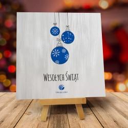 Firmowa kartka świąteczna ŚNIEŻNE BOMBECZKI z logiem