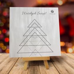 Firmowa kartka świąteczna TRÓJKĄTY - jasna z logiem