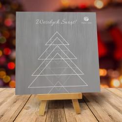 Firmowa kartka świąteczna TRÓJKĄTY - ciemna z logiem