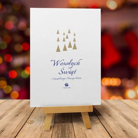 Firmowa kartka świąteczna WESOŁE CHOINKI z logiem