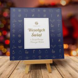 firmowa kartka świąteczna GRANATOWE PRZYBRANIE z logiem / min. 10 szt