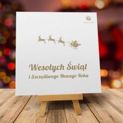 firmowa kartka świąteczna JADĄ SANIE z logiem / min. 10 szt