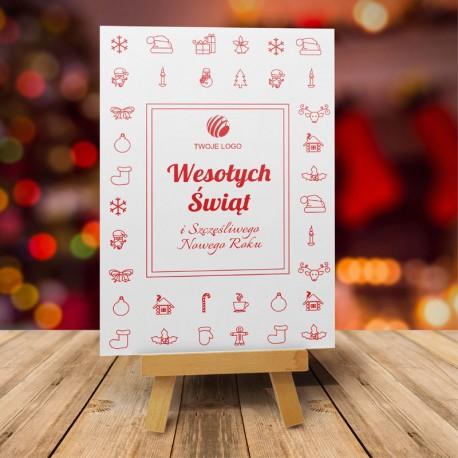 firmowa kartka świąteczna CZERWONE UCIECHY z logiem / min. 10 szt