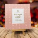 firmowa kartka świąteczna PUDROWE PRZYBRANIE z logiem / min. 10 szt