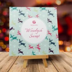 firmowa kartka świąteczna DESZCZ RENIFERÓW z logiem / min. 10 szt