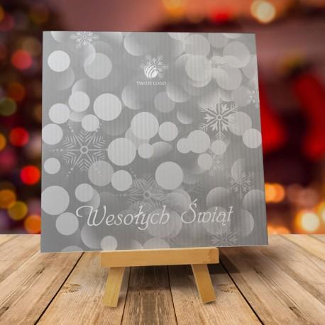 Frmowa kartka świąteczna PŁATKI ŚNIEGU PERŁOWA SREBRNA z logiem