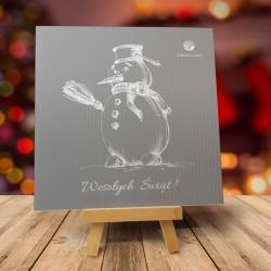 Firmowa kartka świąteczna Z BAŁWANKIEM z logiem