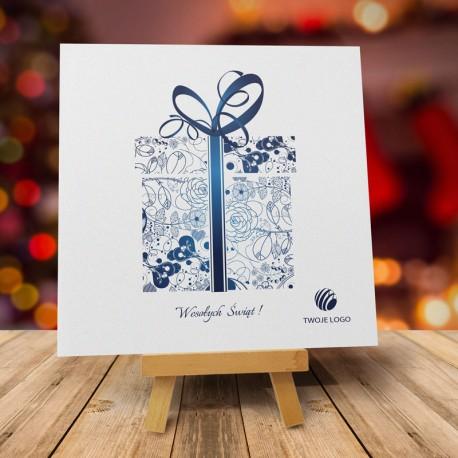 Firmowa kartka świąteczna PREZENT NIEBIESKI z logiem