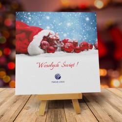 Firmowa kartka świąteczna WOREK PREZENTÓW z logiem