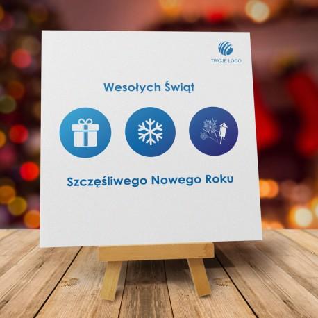 firmowa kartka świąteczna MROŹNE MINIATURKI z logiem / min. 10 szt