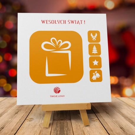 firmowa kartka świąteczna POMARAŃCZOWA FOLDERKA z logiem / min. 10 szt