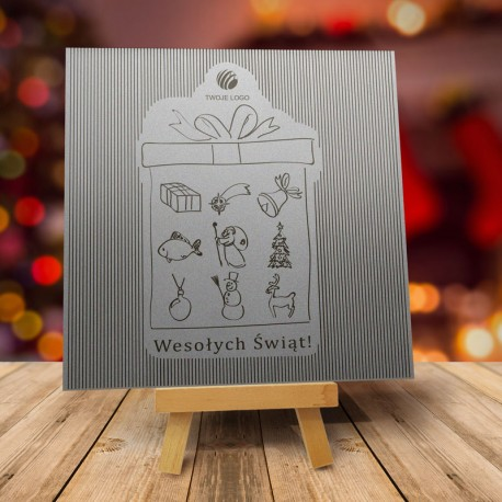 Firmowa kartka świąteczna WIELKA SREBRNA NIESPODZIANKA z logiem