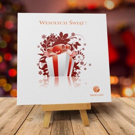 firmowa kartka świąteczna PACZUSZKA z logiem / min. 10 szt