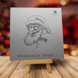 Firmowa kartka świąteczna SREBRNY MIKOŁAJ z logiem