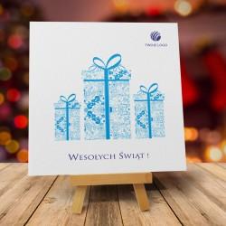 firmowa kartka świąteczna POTRÓJNA RADOŚĆ z logiem / min. 10 szt
