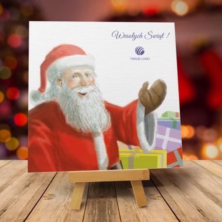 firmowa kartka świąteczna MIKOŁAJOWA UCIECHA z logiem / min. 10 szt