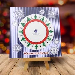 firmowa kartka świąteczna PASIASTA ZIMA z logiem / min. 10 szt