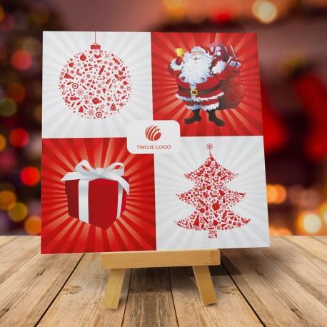 Firmowa kartka świąteczna MIKOŁAJ CHOINKA PREZENT BOMBKA z logiem