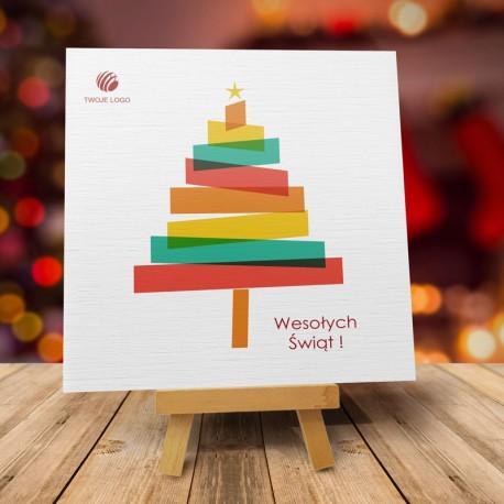 firmowa kartka świąteczna CHOINECZKA z logiem / min. 10 szt