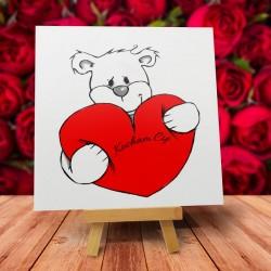 """Kartka Walentynkowa wzór - """"Kochający misiek"""" - 1 szt"""