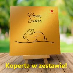 Kartka Złoty króliczek + Firmowe życzenia Wielkanocne + Koperta w zestawie