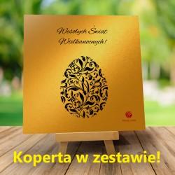 Kartki Wielkanocne dla firm Złote jajko + Koperta w zestawie