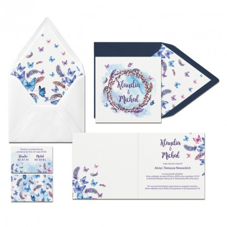 Zaproszenia ślubne Akwarelowe Motyle