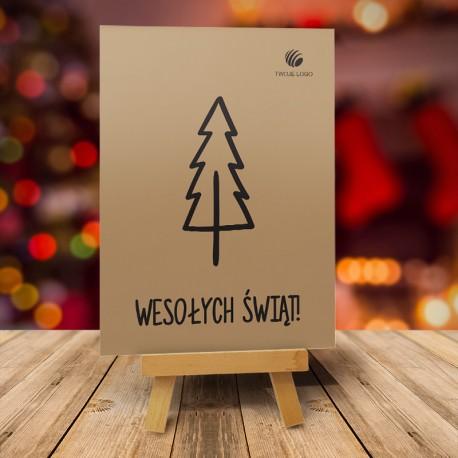 firmowa kartka świąteczna CZARNA CHOINKA z logiem