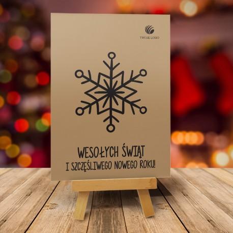 firmowa kartka świąteczna CZARNA ŚNIEŻYNKA z logiem