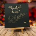 Firmowa kartka świąteczna LECĄ ŚNIEŻKI CIEMNE z logiem