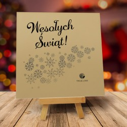 Firmowa kartka świąteczna LECĄ ŚNIEŻKI JASNE z logiem