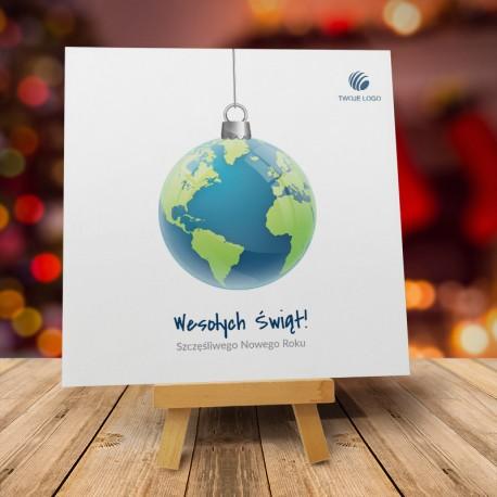 Kartka Bożonarodzeniowa Światowa Bombka z logiem