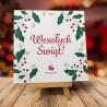 Składana Kartka Świąteczna Ostrokrzew z logo