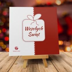 Kartka Bożonarodzeniowa ŚWIĄTECZNA PACZKA BORDOWA z logo