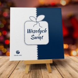 Kartka Bożonarodzeniowa ŚWIĄTECZNA PACZKA GRANATOWA z logo