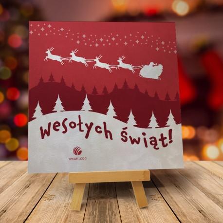 Kartka Bożonarodzeniowa LATAJĄCY MIKOŁAJ z logo